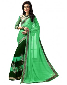 Ethnic Wear Green Lycra Saree  - FIRANGI31901
