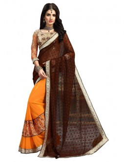 Ethnic Wear Brown & Orange Saree  - FIRANGI31903