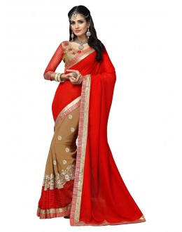 Festival Wear Red & Beige Saree  - FIRANGI31906