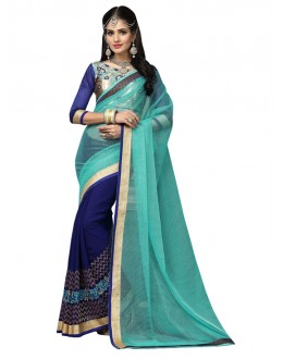 Ethnic Wear Blue Lycra Saree  - FIRANGI31907