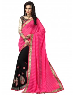 Ethnic Wear Pink & Black Saree  - FIRANGI31908