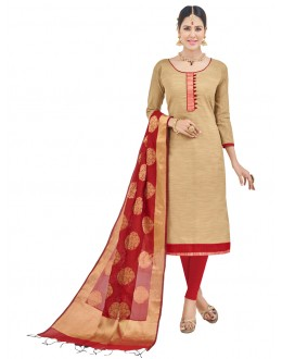 Festival Wear Beige Semi Cotton Salwar Suit  - FLORINA1001