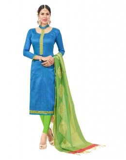 Party Wear Blue Semi Cotton Salwar Suit  - FLORINA1002