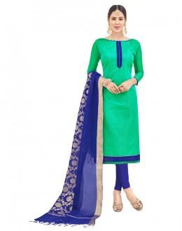Office Wear Green Semi Cotton Salwar Suit  - FLORINA1004