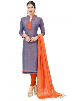Slate Blue Colour Semi Cotton Salwar Suit  - FLORINA1005
