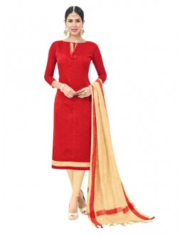 Casual Wear Red Semi Cotton Salwar Suit  - FLORINA1006