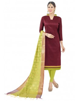 Ethnic Wear Maroon Semi Cotton Salwar Suit  - FLORINA1007