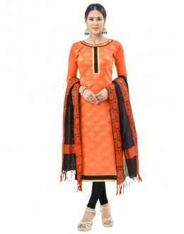 Office Wear Orange Semi Cotton Salwar Suit  - FLORINA1008