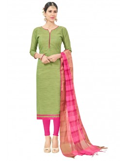 Semi Cotton Green Colour Salwar Suit  - FLORINA1009