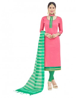 Party Wear Pink Semi Cotton Salwar Suit  - FLORINA1011