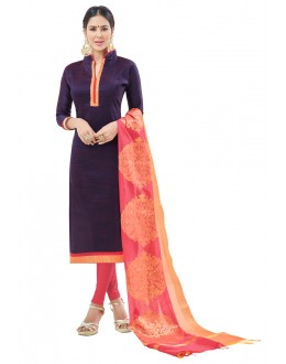 Office Wear Purple Semi Cotton Salwar Suit  - FLORINA1012