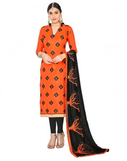 Ethnic Wear Orange Cotton Salwar Suit  - GEORGIA1010