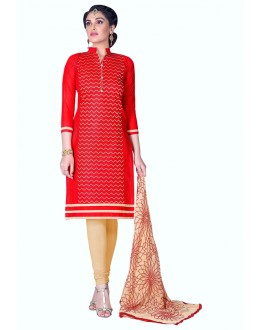 Ethnic Wear Red Cambric Cotton Salwar Suit - HEENARI1