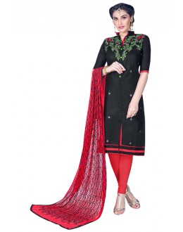 Office Wear Black Cambric Cotton Salwar Suit - HEENARI2