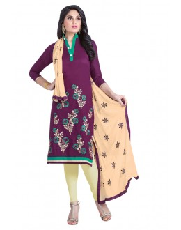 Office Wear Purple Cambric Cotton Salwar Suit - HEENARI3