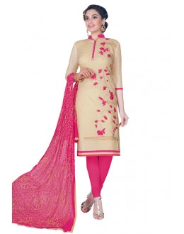 Cambric Cotton Beige Embroidery Salwar Suit - HEENARI4