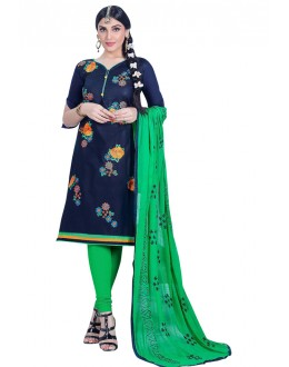 Ethnic Wear Blue Cambric Cotton Salwar Suit - HEENARI5