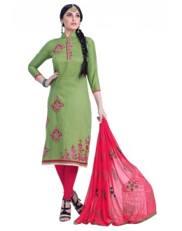 Cambric Cotton Light Green Salwar Suit - HEENARI6