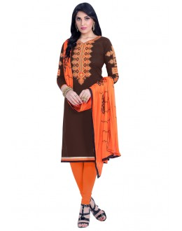 Office Wear Brown Cambric Cotton Salwar Suit - HEENARI7