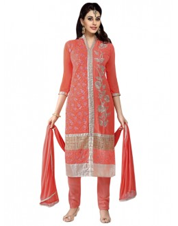 Eid Special Light Red Georgette  Churidar Suit - 909