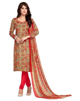 Casual Wear Multi-Colour & Red Salwar Suit  - 5018
