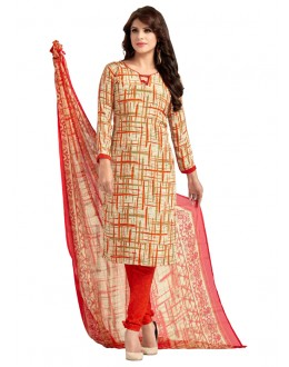 Ethnic Wear Beige & Red Salwar Suit  - 5028