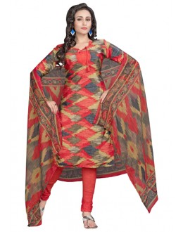 Casual Wear Multi-Colour & Red Salwar Suit  - 6010