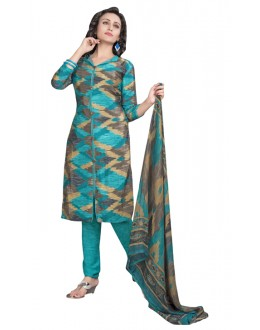 Casual Wear Multi-Colour & Sea Green Salwar Suit  - 6016
