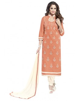 Office Wear Orange Glaze Cotton Salwar Suit  - JENNIFER4002