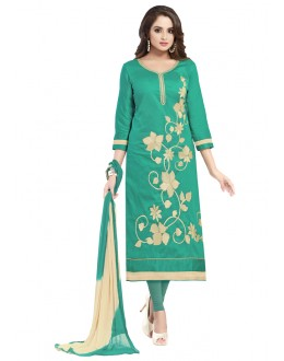 Ethnic Wear Green Glaze Cotton Salwar Suit  - JENNIFER4003