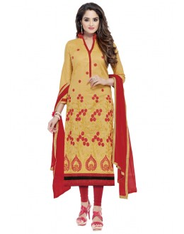 Ethnic Wear Beige Glaze Cotton Salwar Suit  - JENNIFER4004