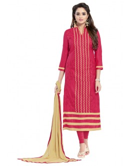 Casual Wear Pink Glaze Cotton Salwar Suit  - JENNIFER4005