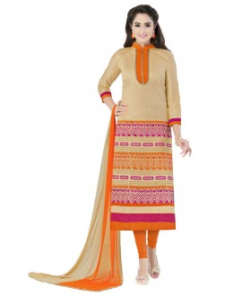 Festival Wear Beige Glaze Cotton Salwar Suit  - JENNIFER4006