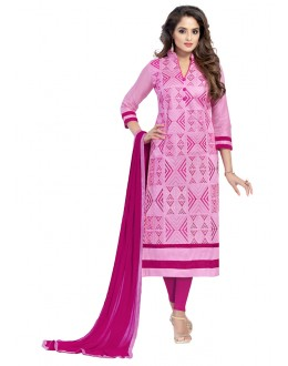 Office Wear Pink Glaze Cotton Salwar Suit  - JENNIFER4007
