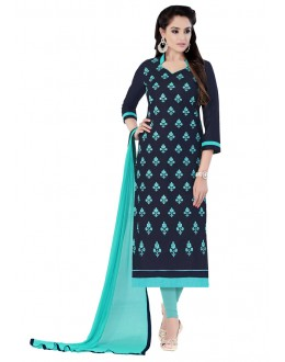 Festival Wear Blue Glaze Cotton Salwar Suit  - JENNIFER4008