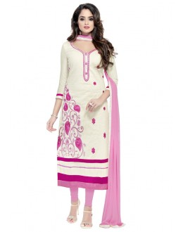 Party Wear White Glaze Cotton Salwar Suit  - JENNIFER4009
