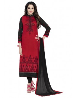 Office Wear Red Glaze Cotton Salwar Suit  - JENNIFER4010