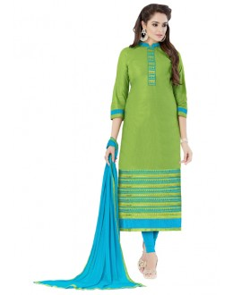 Office Wear Green Glaze Cotton Salwar Suit  - JENNIFER4012