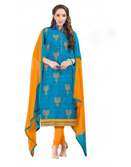 Ethnic Wear Blue Chanderi Cotton Salwar Suit  - JESSICA3003