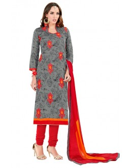 Festival Wear Grey Chanderi Cotton Salwar Suit  - JESSICA3004