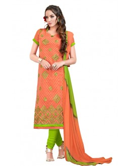 Festival Wear Peach Chanderi Cotton Salwar Suit  - JESSICA3008