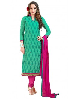 Office Wear Green Chanderi Cotton Salwar Suit  - JESSICA3009