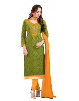 Festival Wear Green Chanderi Cotton Salwar Suit  - JESSICA3010