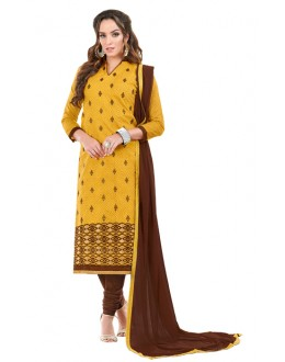 Ethnic Wear Yellow Chanderi Cotton Salwar Suit  - JESSICA3012