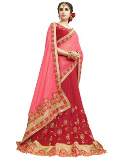 Pink & Red Georgette Half & Half Saree  - KAYRA 211002