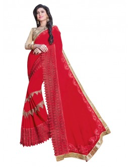 Ethnic Wear Red Georgette Saree  - KAYRA9102