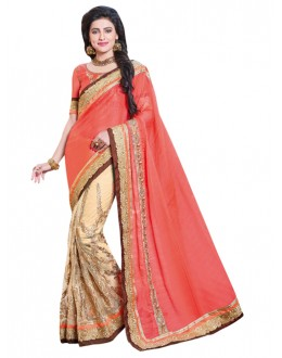Georgette Peach & Cream Half & Half Saree  - KAYRA9104