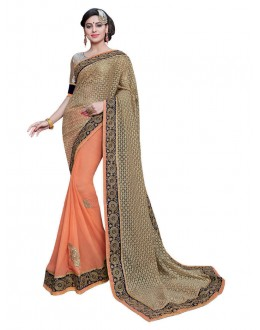 Georgette Beige & Orange Half & Half Saree  - KAYRA9106