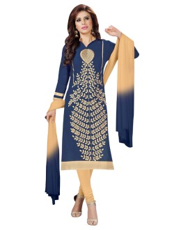 Office Wear Blue Cotton Salwar Suit  - KOMAL VOL 522001