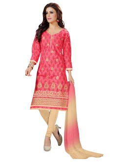 Festival Wear Pink Cotton Salwar Suit  - KOMAL VOL 522002